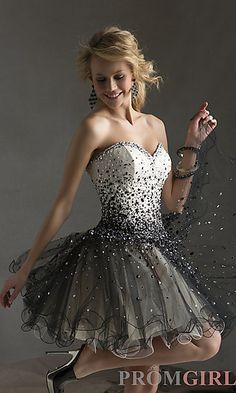 Short Beaded Strapless Babydoll Dress at PromGirl.com