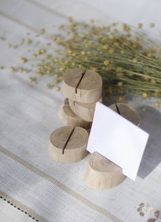 Wood-oak. Set of 10 natural wood place card holders.  These wedding card holders will make a perfect, one of a kind decoration and hold your menu cards,
