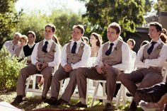 Groomsmen attire; Not necessarily the colors but I like the vests/fat toes. Can you imagine the boys?! :)