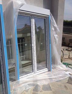 Συνθετικά κουφώματα ETEM έτοιμα προς τοποθέτηση. Ο πελάτης μας αποφάσισε να αλλάξει την μπαλκονόπορτα και το εξώφυλλο της. Windows, Mirror, Furniture, Home Decor, Window, Interior Design, Home Interior Design, Arredamento, Mirrors