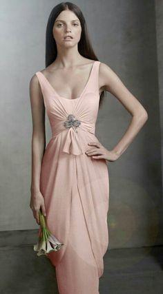 1b6326177270 Vera Wang Blush Chiffon Sleeveless Column Formal Bridesmaid/Mob Dress Size 2  (XS) off retail