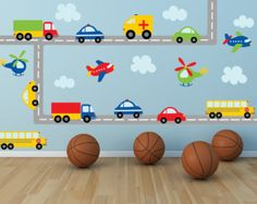 Truck Decal - Name Decal - Construction Wall Decal - Plane Decal- Transportation Decal - Boy Wall Decal - Nursery Wall Decal - Wall Decals Name Wall Decals, Kids Wall Decals, Nursery Wall Decals, Wall Stickers, Nursery Décor, Transportation Theme, Truck Bed, Dump Truck, Nursery Themes