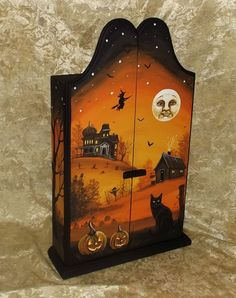 Hand Painted Wood Cupboard Box Black Cat Witch JOL Haunted Halloween Painting NR #Realism