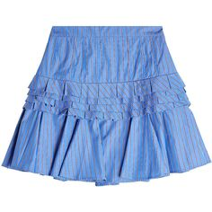 Maggie Marilyn Striped Cotton Mini Skirt (2841655 PYG) ❤ liked on Polyvore featuring skirts, mini skirts, blue, tiered ruffle skirt, ruffle mini skirt, short mini skirts, short blue skirt and blue striped skirt