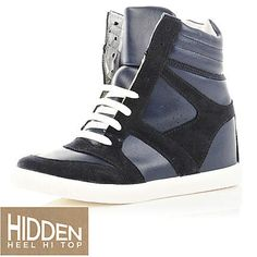 navy hidden high tops - high tops - shoes / boots - women - River Island