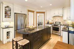 White Cabinets with Dark island #kitchen #renovation