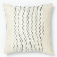 Embroidered Dot Silk Pillow Cover – Dusty Blue