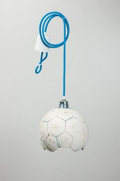 Suitable for the World Cup in Brazil: football - ceiling lamp upcycling textile cable - . Suitable for the World Cup in Brazil: football – ceiling lamp upcycling textile cable – Diy Kids Furniture, Hall Furniture, White Lamp Shade, Lamp Shades, Bean Bag Seats, Kids Room Design, Kids Decor, Ceiling Lamp, Boy Room
