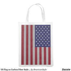 838d5389026e US Flag on Carbon Fiber Style Decor Grocery Bag