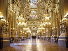 Order Tickets for Palais Garnier — With crystal chandeliers, velvet, marble, and gilt surfaces, Palais Garnier offers a sumptuous atmosphere to experience the opera and ballet productions of the Opéra de Paris. Le Foyer, Grand Foyer, Amazing Architecture, Architecture Details, My Adventure Book, Paris Opera House, Parisian Wedding, Colored Ceiling, Party