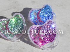 Custom Swarovski Crystal BLING BABY PACIFIERS in Fading Colors