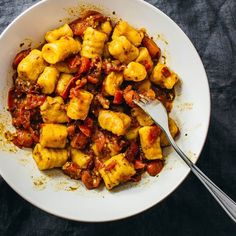 Easiest sweet potato gnocchi recipe! Just 2 ingredients are needed, sweet potatoes and flour, and you'll end up with soft and pillowy gnocchi.