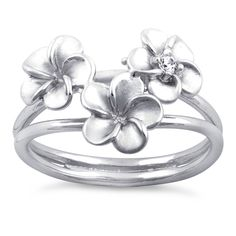 Sterling Silver Triple Flower CZ Ring