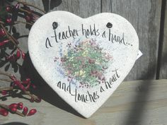 Teacher Gift Heart Salt Dough Ornament $6.95 www.cookiedoughcreations.net