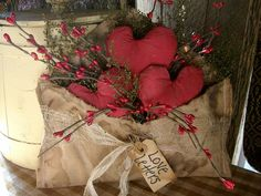 Primitive Valentines Love Letter With Hearts Shelf Sitter