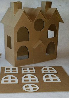 me ~ Putz Style Houses- Large Vintage 3 Roofs House Diy Christmas Village Houses, Christmas House Lights, Putz Houses, Christmas Villages, Christmas Home, Christmas Crafts, Christmas Trends, Cardboard Sculpture, Cardboard Crafts