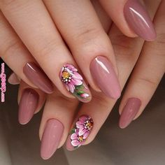 Looking for something more than a simple one color manicure but don't want to go. - - Looking for something more than a simple one color manicure but don't want to go too crazy? Floral nails for you! Pink Nail Art, Pink Nails, My Nails, Flower Nail Designs, Flower Nail Art, Nail Polish Designs, Nail Art Designs, Nails Design, Cute Nails