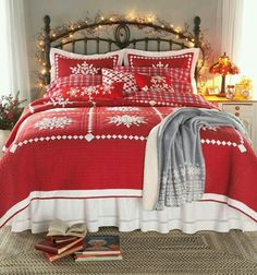 crystal snowflake cotton quilt shams and pillow christmas lights on the headboard complete this lovely christmas bedroom