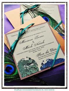 MARIANA Lovebird Peacock Themed Save the Date Cards in Deep Emerald Green Bronze and Copper - love the ribbon accent