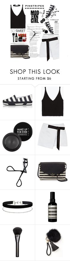 """""""Perfect Pinstripes"""" by amimcqueen ❤ liked on Polyvore featuring Dolce&Gabbana, Zara, MAKE UP FOR EVER, Opening Ceremony, Bobbi Brown Cosmetics, Whiteley, Kate Spade, Miss Selfridge, Aesop and Gucci"""