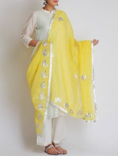 Buy Yellow Silver Embellished Gota Patti Chanderi Dupatta Online at Jaypore.com Indian Attire, Indian Ethnic Wear, Indian Designer Outfits, Designer Dresses, Indian Dresses, Indian Outfits, Indian Clothes, Gota Patti Suits, Suits For Women