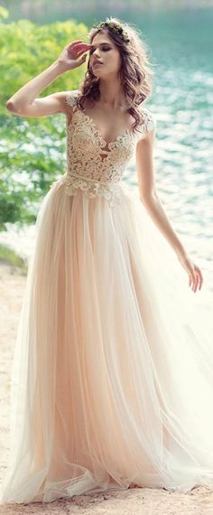 e33e8d8dac Fantastic Tulle V-neck Neckline A-line Wedding Dresses With Lace Appliques    Belt