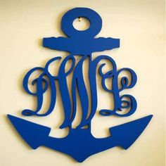 """Decorative Wooden Anchor Monogram 24"""" tall LOVE!  Make it any color!"""