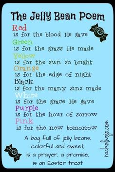 Jelly Bean Poem printable - print 4 copies on 1 8.5x11  PERFECT FOR EASTER!!!