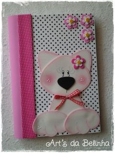 See related links to what you are looking for. Crafts To Sell, Diy And Crafts, Crafts For Kids, Arts And Crafts, Altered Composition Notebooks, Homemade Journal, Cat Template, Decorate Notebook, Foam Crafts