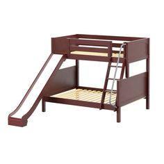 MaxtrixKids | SLICK CP : Twin/Full (Low/Med) Bunk w/ Angle Ladder & Slide : Twin/Full : Chestnut : Panel - Twin Over Full Bunk Beds - SLICK-CP
