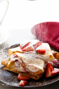 Strawberries and Cream Crepes with Orange Liqueur