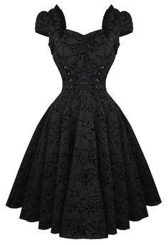 H&R LONDON | DRESS | Black Flocking Long Beserk