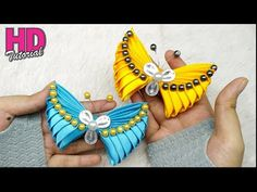 Accessories videos DIY - How to make butterfly with satin ribbon DIY - Como fazer borboleta com fita de cetim Satin Ribbon Flowers, Ribbon Art, Diy Ribbon, Ribbon Crafts, Fabric Flowers, Satin Ribbons, Grosgrain Ribbon, Hand Embroidery Flowers, Silk Ribbon Embroidery