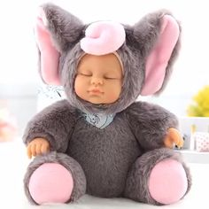 11 inch Reborn Baby Doll Handmade Realistic Lifelike Silicone Vinyl Full Body Girl Dolls for Toddler Birthday Christmas Gifts, Size: Elephant Baby Boys, Bunny Blanket, Wiedergeborene Babys, Diy Clothes Videos, Baby Hands, Baby List, Tummy Time, Reborn Baby Dolls, Baby Elephant