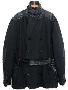 ANDREW BUCKLER Mens Coat Jacket Wool Leather Black Size M #AndrewBuckler #BasicCoat
