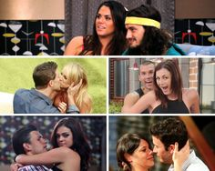 """Clockwise from top: Amanda and McCrae, Brendon and Rachel, Sarah and James, Jeremy and Kaitlin, and Jeff and Jordan engage in """"Big Brother"""" showmances."""
