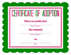 Free printable Stuffed Animal Adoption Certificate