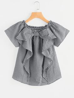 SheIn offers Frill Trim Gingham Blouse & more to fit your fashionable needs. Stylish Dresses, Simple Dresses, Fashion Dresses, Baby Girl Dresses, Baby Dress, Sewing Clothes Women, Clothes For Women, Fashion Online Shop, Girls Blouse