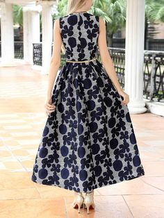 Jacquard Cut-out Maxi Dress