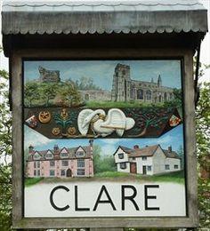 England Travel Inspiration - The village sign, Clare, Suffolk Suffolk Coast, Suffolk England, Pub Signs, Shop Signs, Living In England, England Ireland, English Village, Decorative Signs, Signage Design