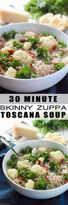 30 Minute Skinny Zuppa Toscana Soup - A healthy spin on a restaurant classic, this Skinny Zuppa Toscana Soup is lightened up with cauliflower and sweet turkey sausage! And not mention, it's brought together in 30 minutes! Zuppa Toscana Suppe, Toscana Soup, Healthy Soup, Healthy Eating, Healthy Recipes, Chili Recipes, Soup Recipes, Recipies, Olives