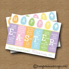 "Easter Card DIY PRINTABLE ""Happy Easter"" Christian Scripture Easter Bible Verse Card"