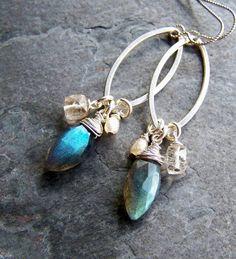 Handcrafted Artisan Jewelry-Labradorite Cultured Pearl Rutilated Quartz Earrings. $48.00, via Etsy.
