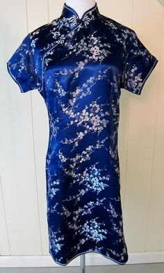 Laogudai Women's M 10/12 Blue  With White Flowers Oriental Silky/Satiny Dress #Laogudai #Oriental