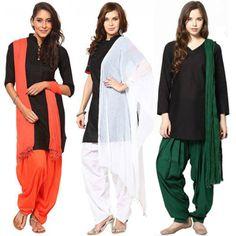 Party Wear Tri Color Salwar Dupatta Combo -101