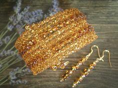 Armreife - Armreif & Ohrringe Set aus Glasperlen - GO SUN - handgemachter Schmuck