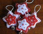 Handmade Red Felt Star Christmas Ornament Set - Set of 4