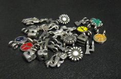destash - silver pewter large hole charms and beads - numbers, enameled symbols, Zodiac, etc. - good for hemp and knot jewelry - 26 pieces