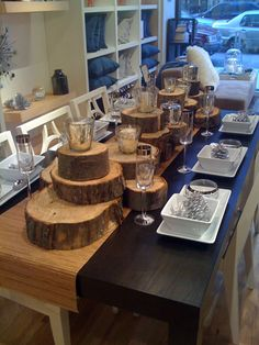 One of my most favorite ways to decorate a table. Plain old wood...minus the vases...maybe some moss.
