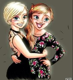 Elsa and Anna with gala dresses